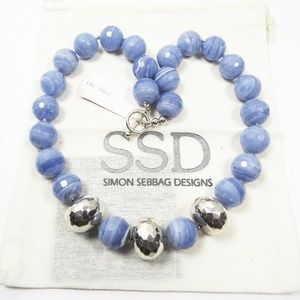 Simon Sebbag Blue Lace Agate Sterling Necklace